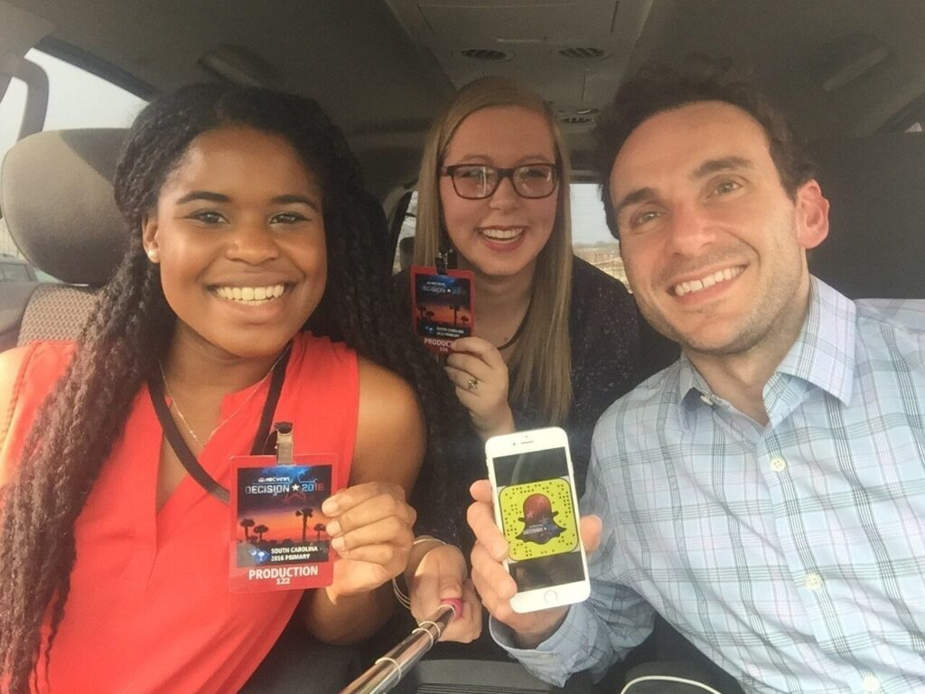 Anthony Adornato with students covering presidential primary for NBC News